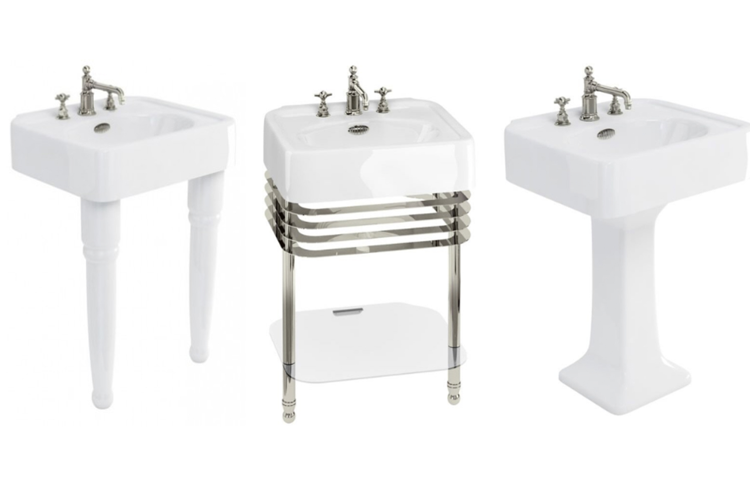 "The new Arcade 24"" pedestal basin is available with a pedestal base, console legs (pair), or console and glass shelf in chrome or nickel finish."