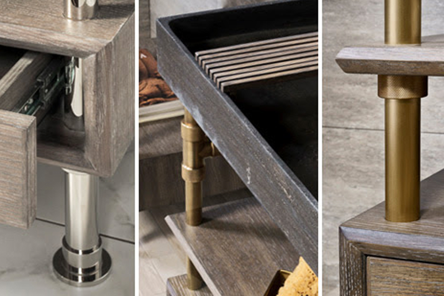Available in single and double formats, Elemental vanities combine stone sinks with wood drawers and steel or wood shelving.