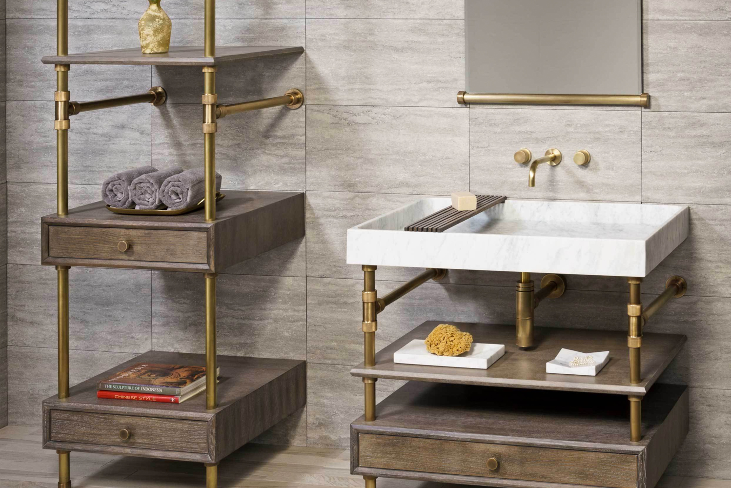 The brass legs with knurled fittings go through each component in the Elemental collection.