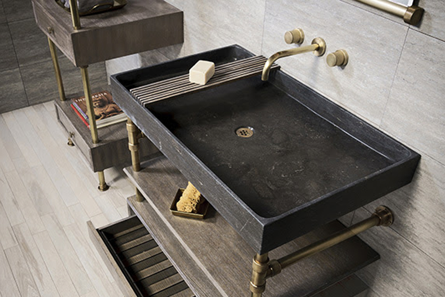 . In aged brass or polished nickel, the legs and fittings add a new component — metal — that works with Stone Forest's natural sinks.