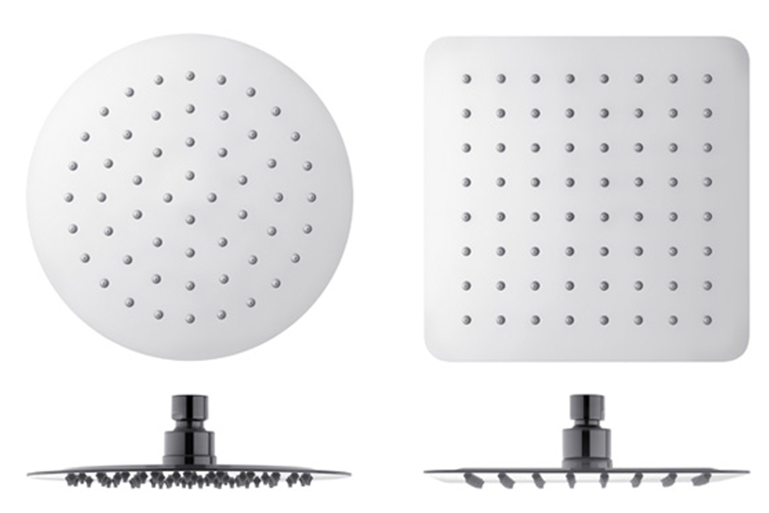 The shower heads have mirror-like finishes.