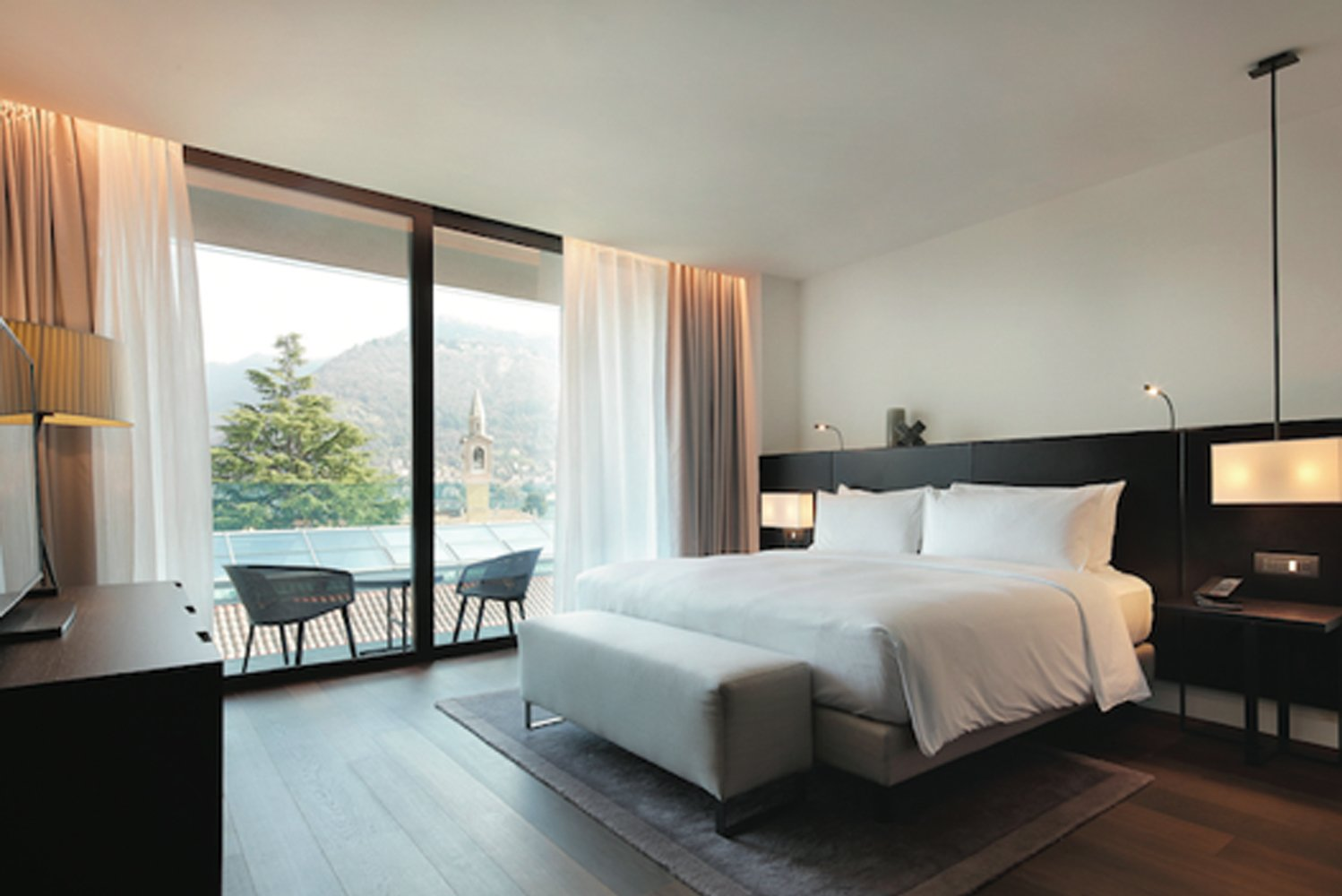 Located in Lake Como in Italy at the Swiss border, the 170-room hotel has amenities overlooking villas and gardens.