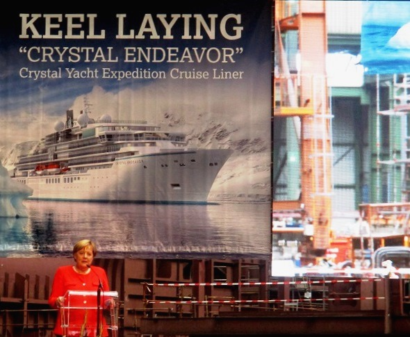 German Federal Chancellor Angela Merkel addresses the VIP audience at the Crystal Endeavor keel laying. Photo by Susan J. Young
