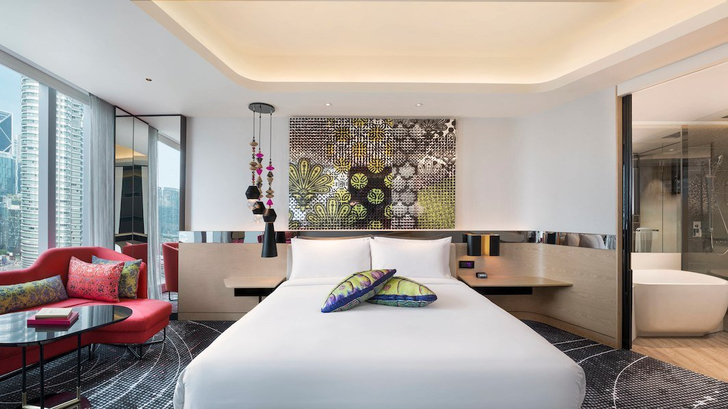 "Guestrooms have traditional accents like indigenous ""Wau"" tassels commonly featured on Malaysian kites and pixelated versions of batik designs."