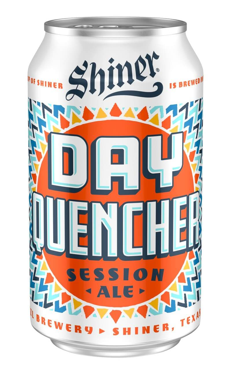 Shiner Day Quencher is a dry-hopped session ale that's easy to drink, ringing in at a modest 4.6% ABV and just 18 IBU.
