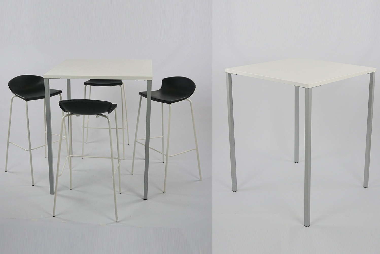 Sim is also available in a square or rectangular top. Legs and top are made of painted steel.