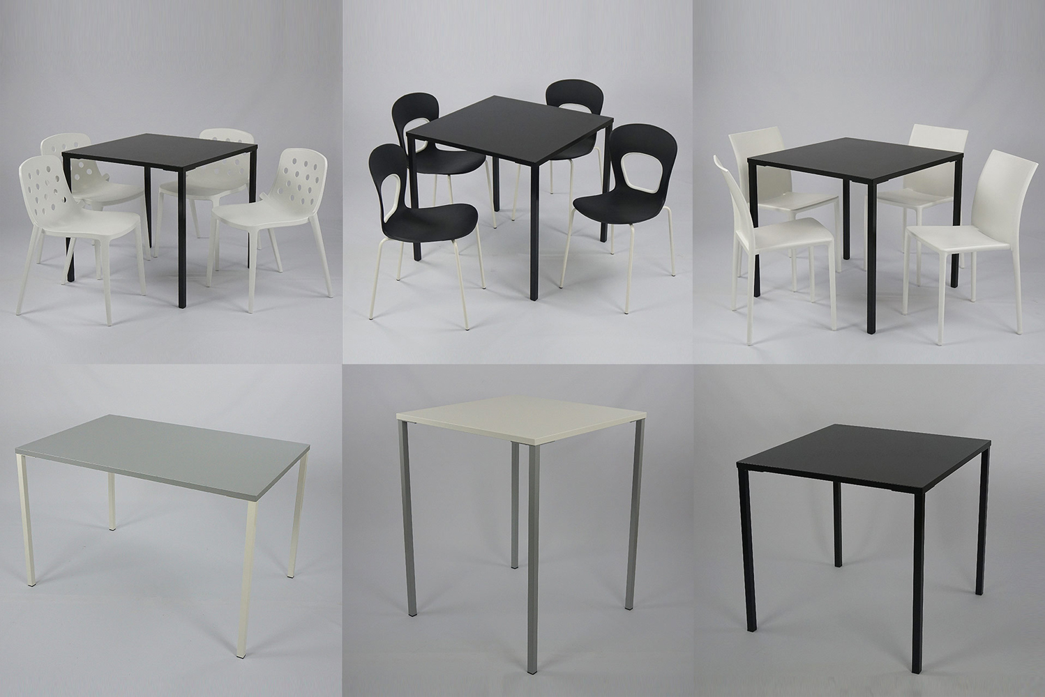 Options include chair/stool heights; square or rectangular tops; and choice of colors: legs and tops in any combination of white, black or grey.
