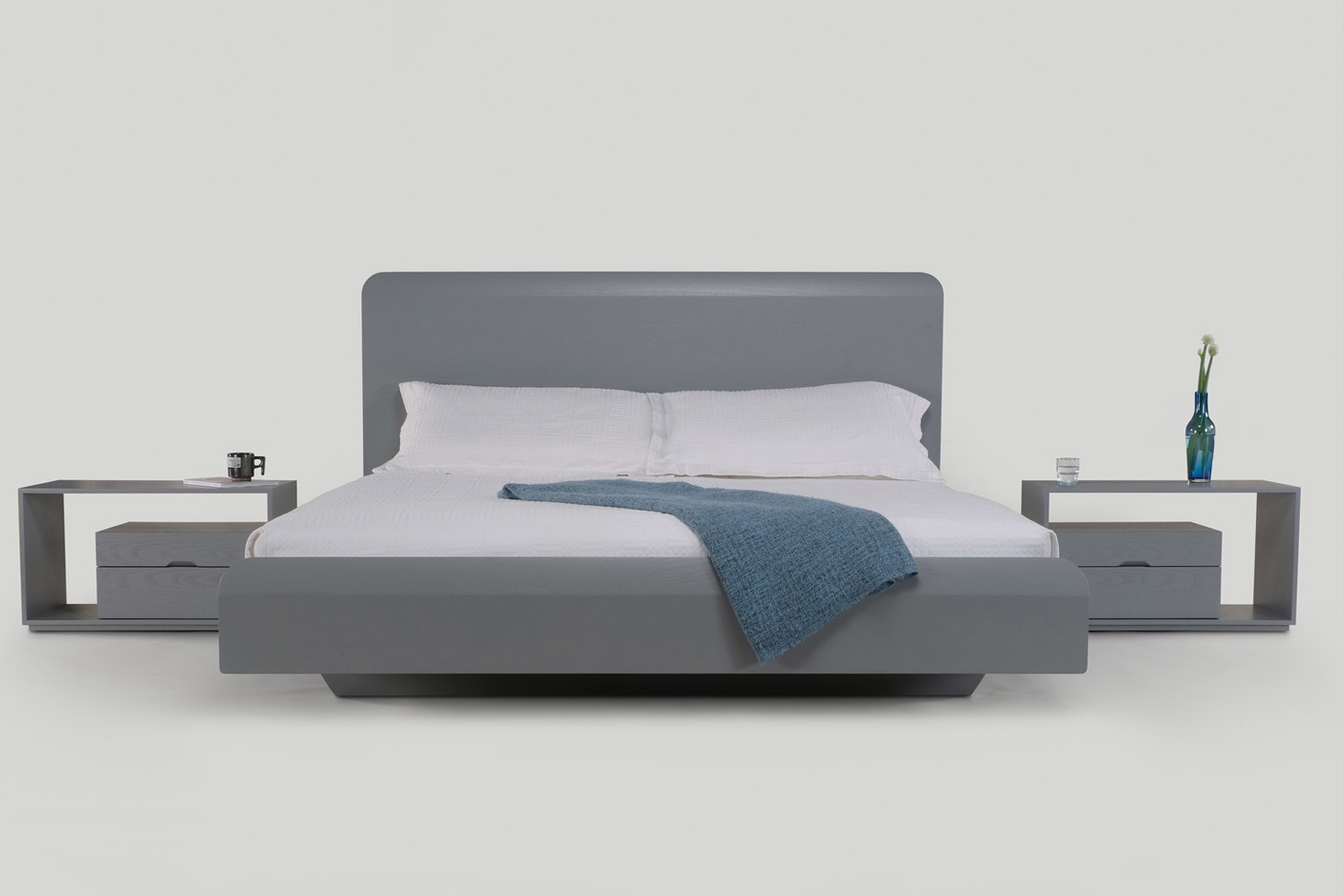 The Lineground bed coordinates with the nightstand and bureau options and the other accompaniments of the Lineground collection.