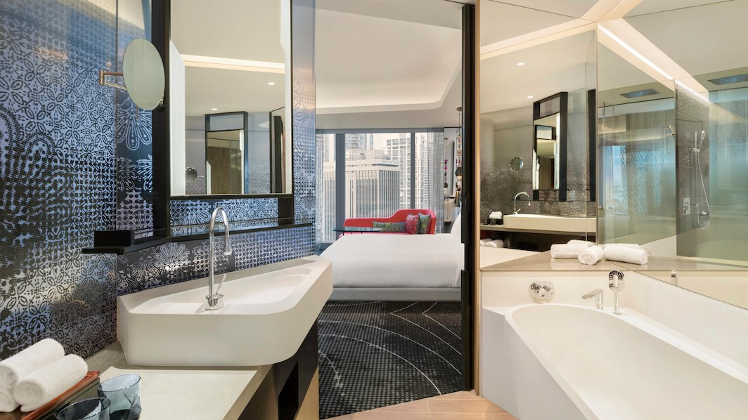 While many W hotels have open-plan bathrooms, the Wonderful guestrooms have dedicated bathing areas.