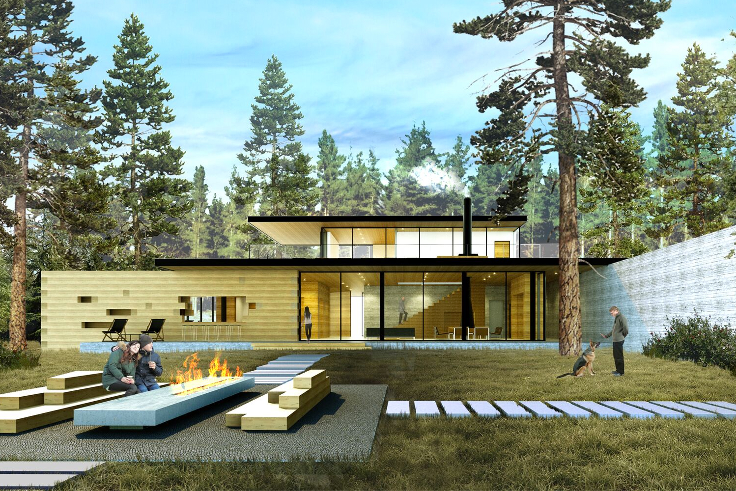 Located on 35 acres in the Sierra Nevada Mountains, the property will have a 4,000 square foot clubhouse with reception, meeting space, and indoor/outdoor lounge areas. Image credit: Anacapa Architecture