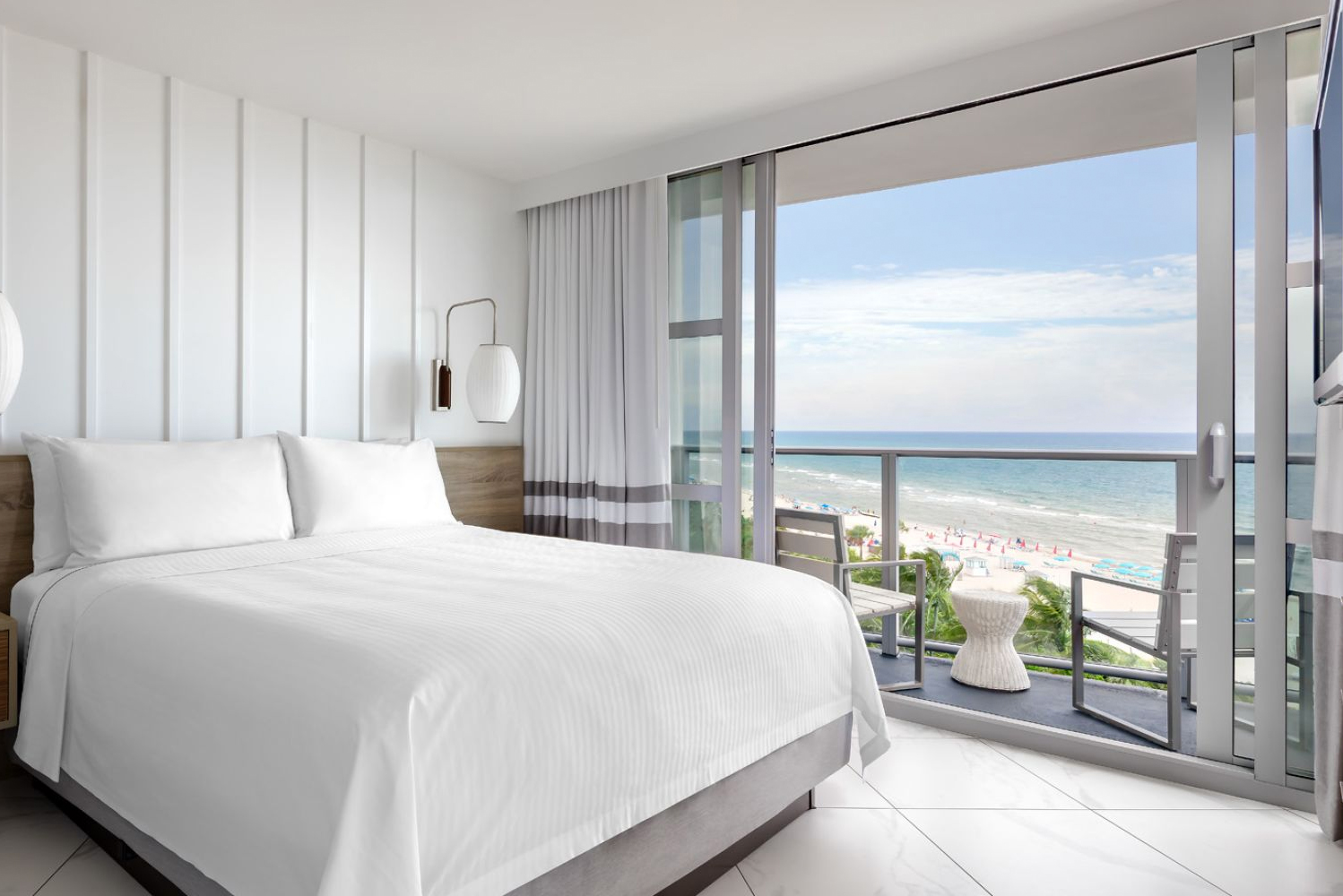 Oceanfront and city view rooms, including 20 suites, are complemented by white stone floors with Art Deco inspired articulation.