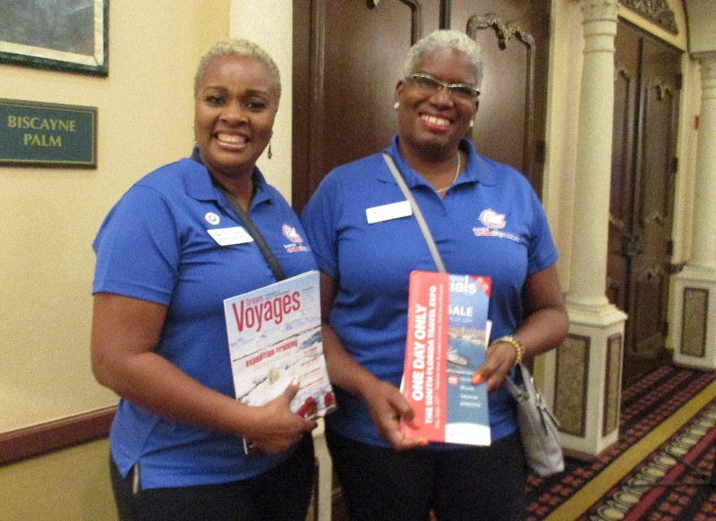 Left to right are Dahlia Steele-Huie and Sandra Little of the Expedia CruiseShipCenters franchise agency in Boca Raton, FL.