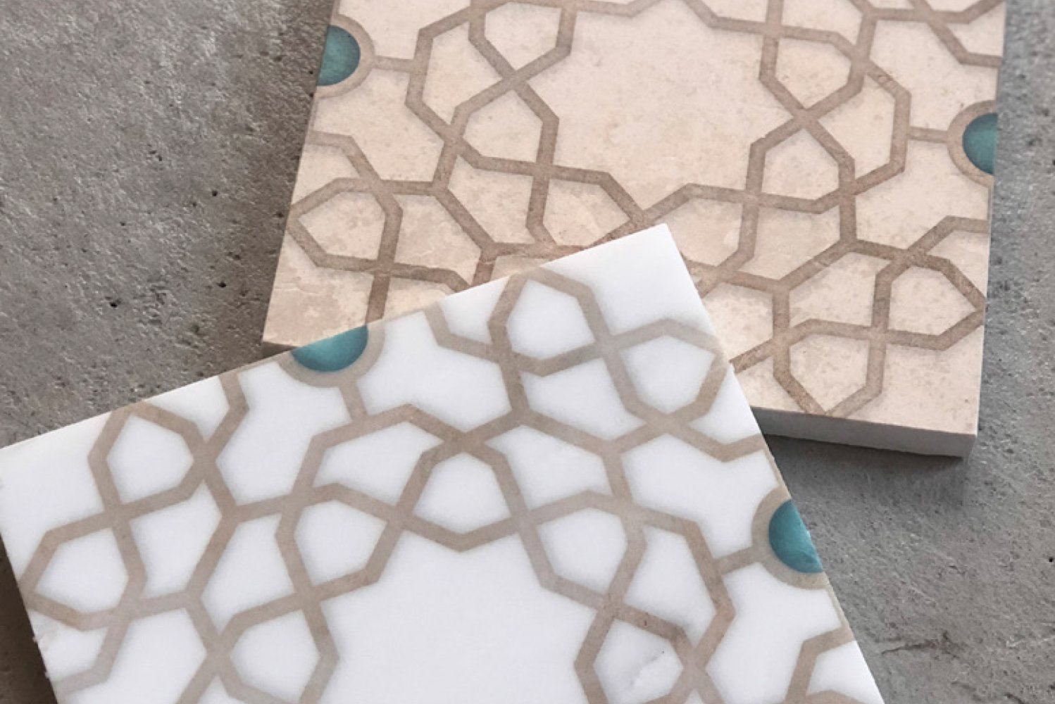 Celebrating the Mediterranean culture, the tiles are available in Carrara marble or limestone.