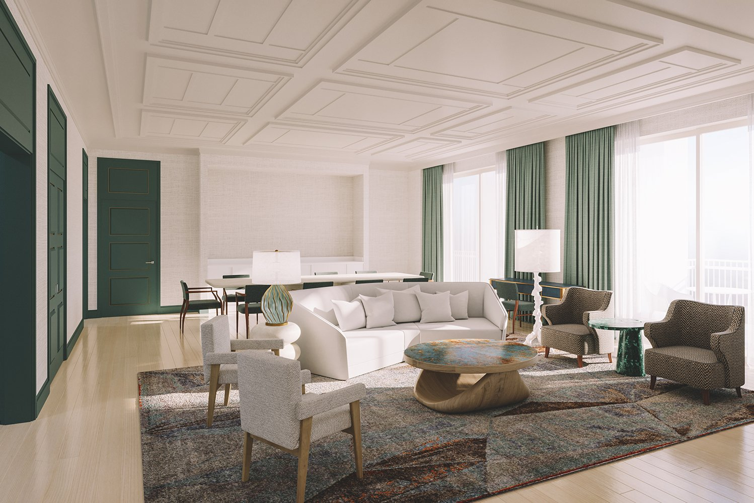 Interior design is led by design studio Champalimaud.
