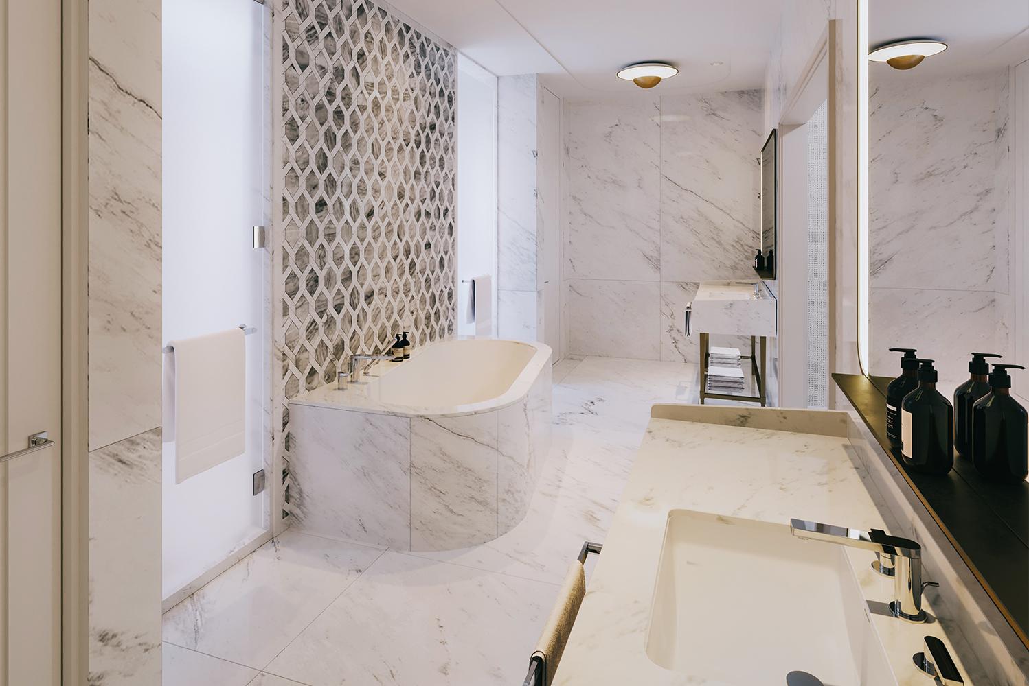 The bathrooms will have a contemporary design, including Alabama white marble walls and floors.