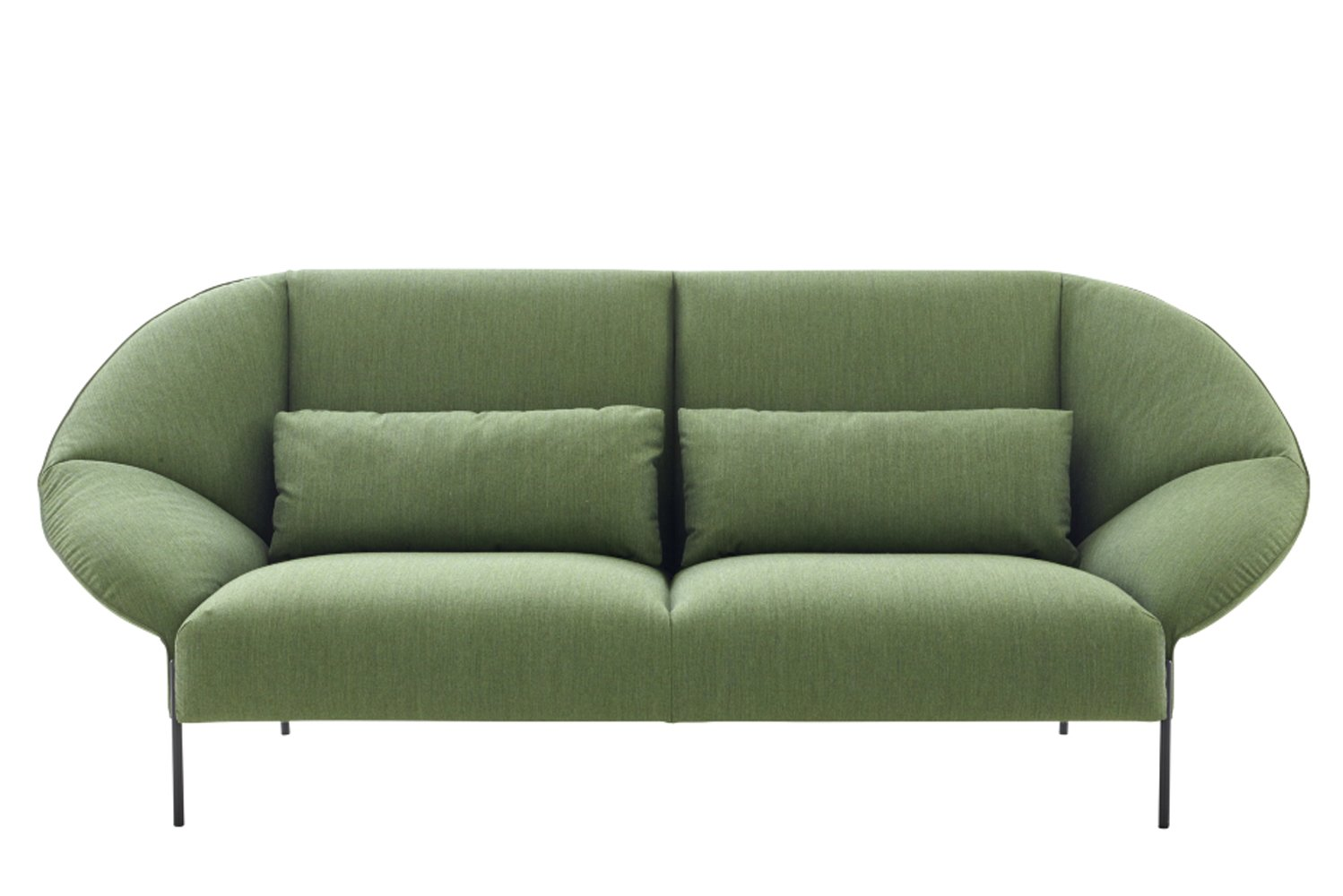 """The upholstered furniture follows an intriguing concept of """"folding a piece of paper to create a closed shape."""""""