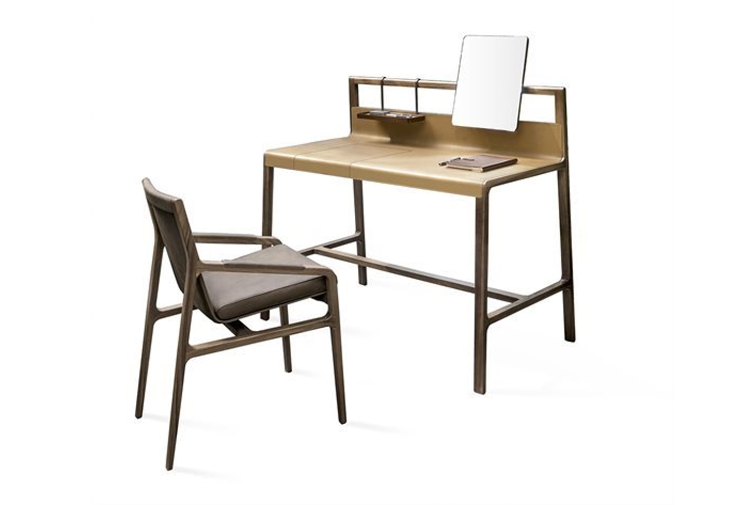From Giuseppe Bavuso for Alivar's Home Projects Collection, Scribe is a retro yet contemporary desk with a slim profile and storage.
