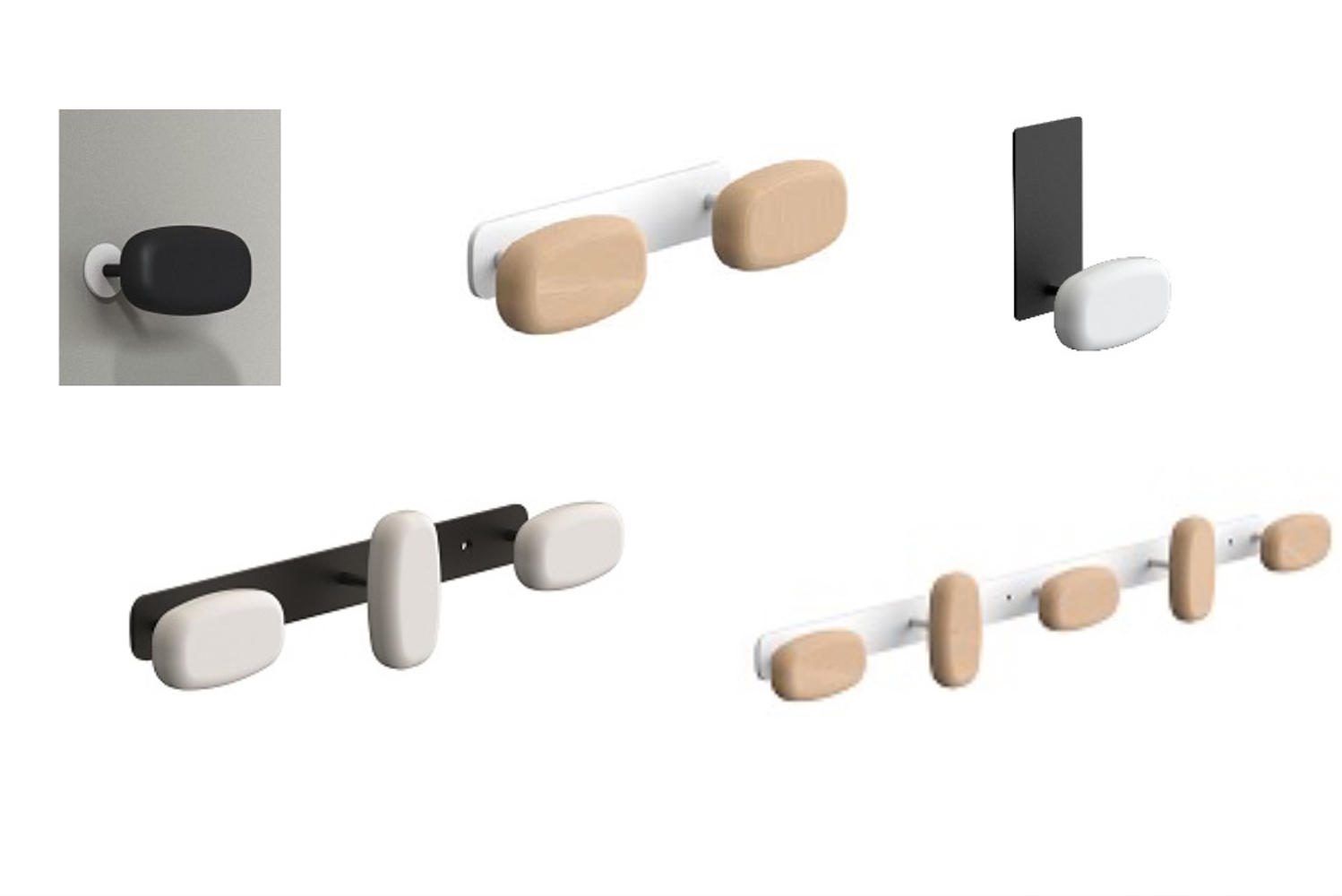 Hook strips and a front-mounted coat hook offer more permanent solutions.