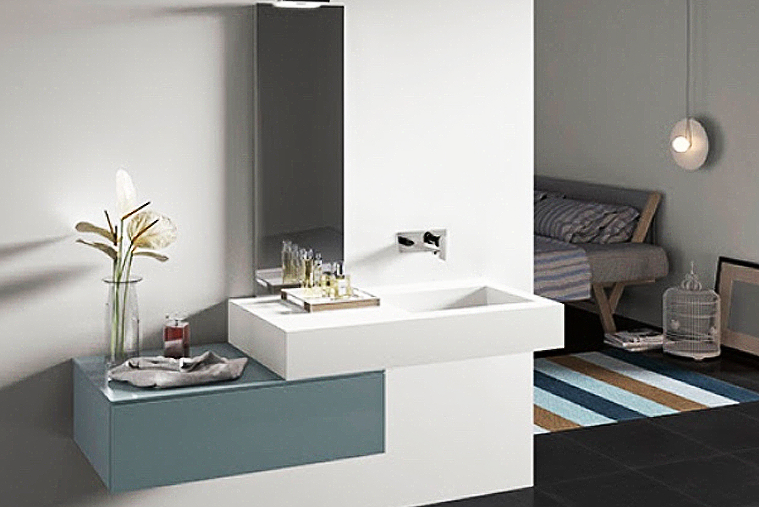 Integrated countertops come in matte white, grigio (cement-colored) or cappuccino, as well as glossy blues and whites.