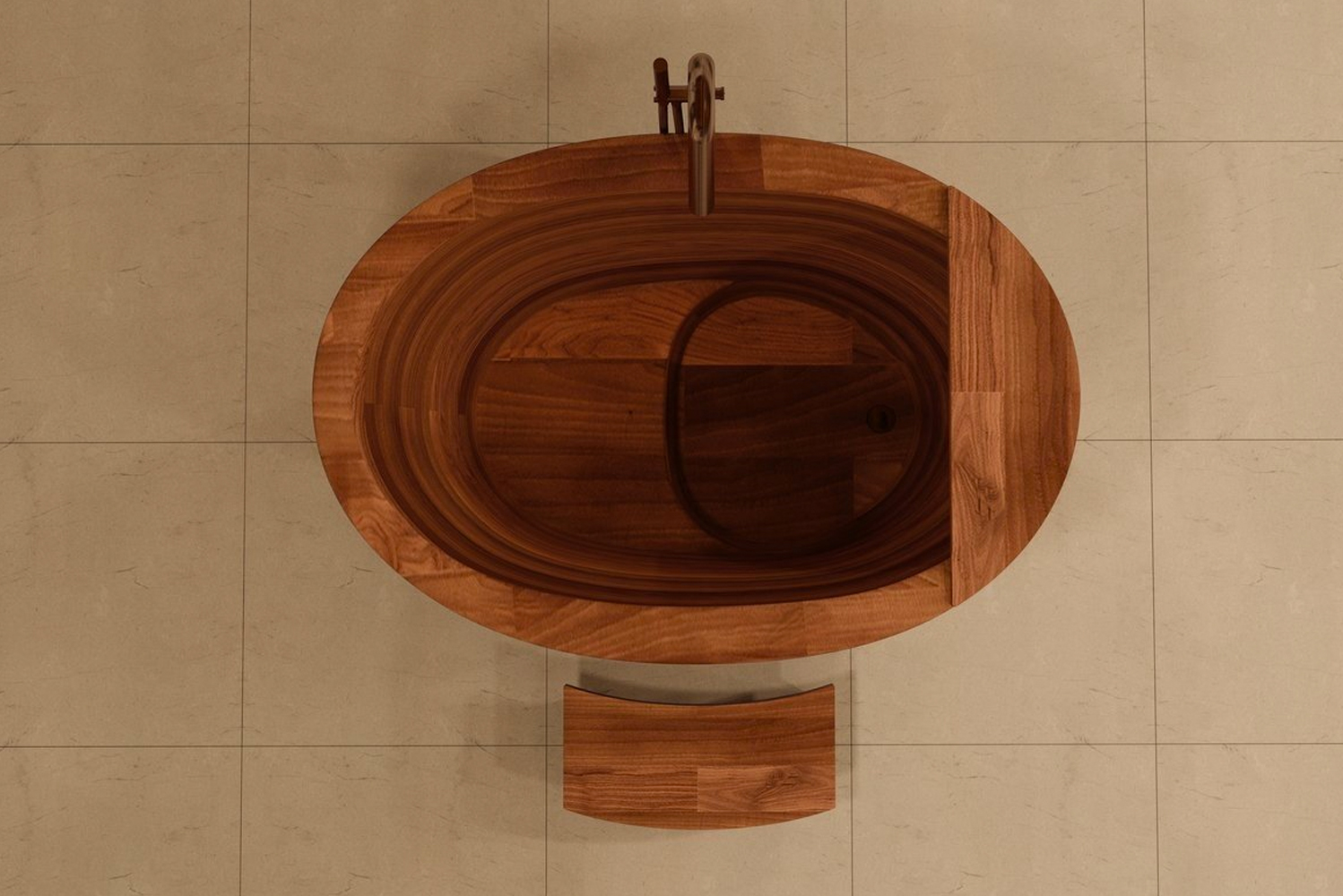 Different woods are available, too. In addition to walnut, bathers may choose from maple, ash, padouk, oak or sapele.