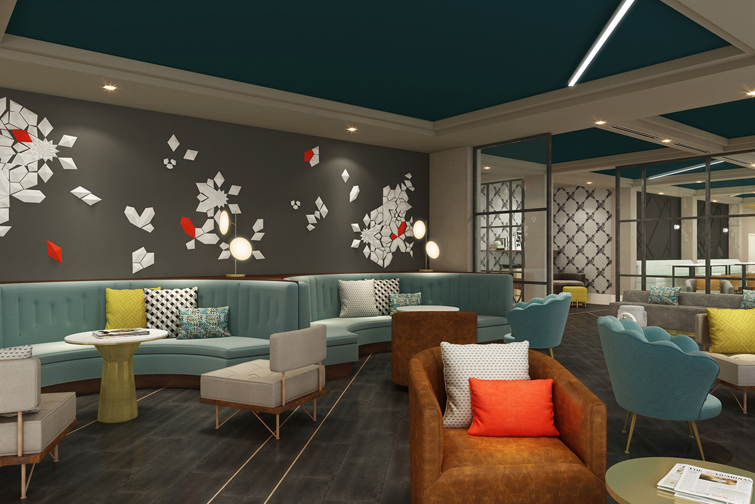 Woodbine hired C+TC Studio of Atlanta as the architect and interior designer for guestrooms and the hotel's rooftop bar, Whiskey Blue.
