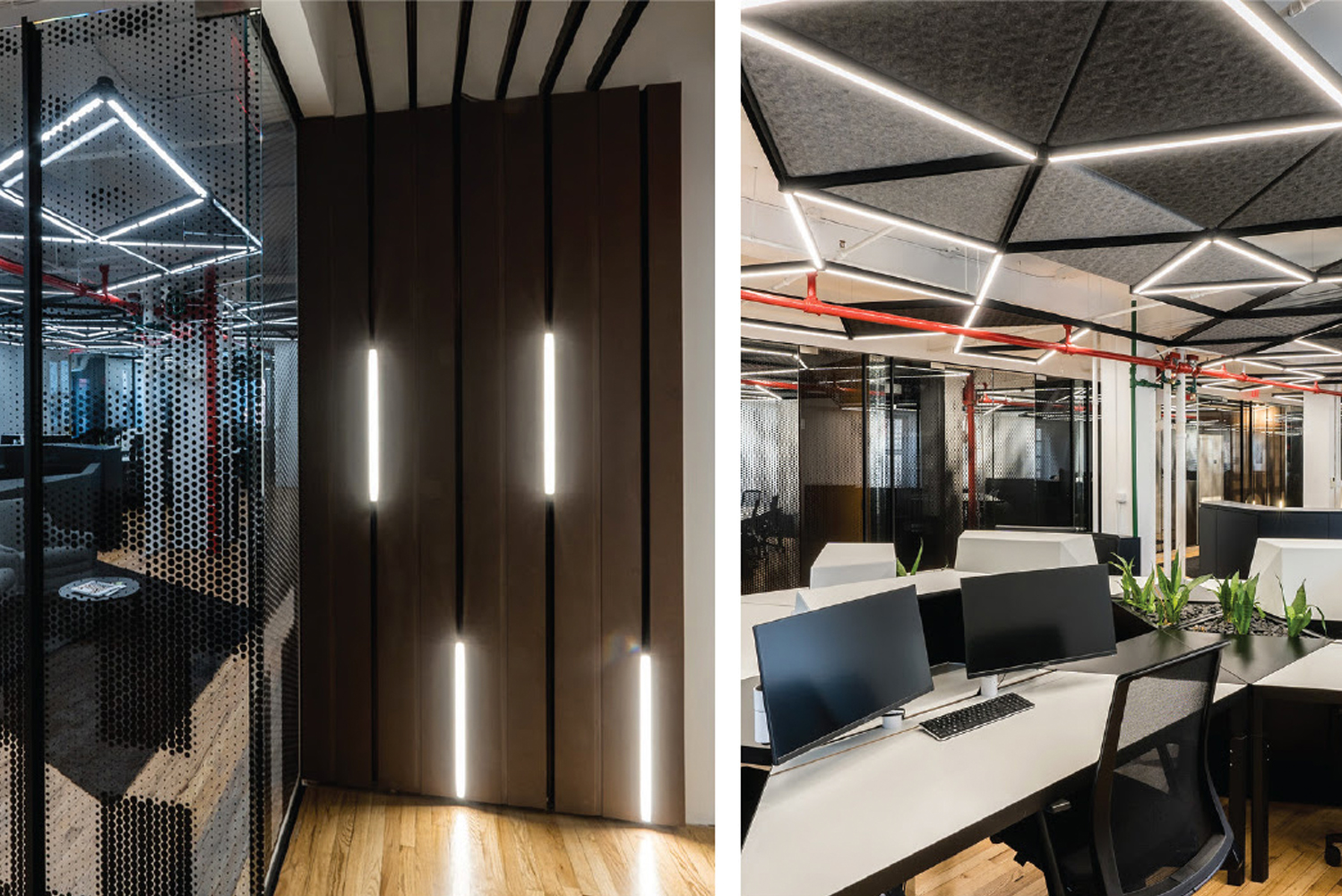 One Node facilitates connections of up to six different channels, enabling all manner of creative ceiling arrangements.