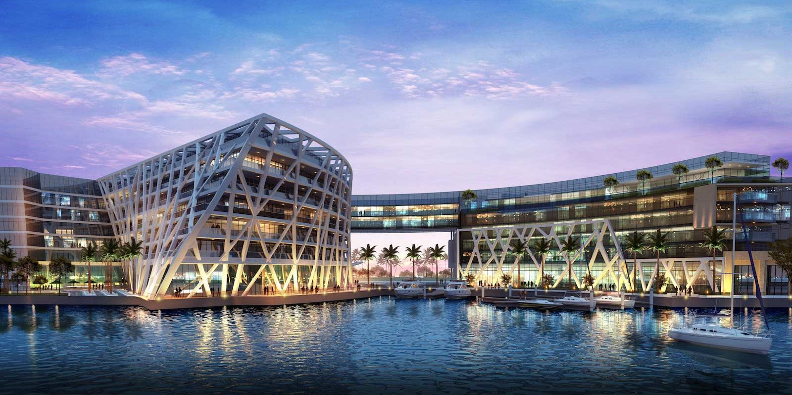 The exterior evokes the lateen sails of the traditional dhow boats that the region was once famed for building.