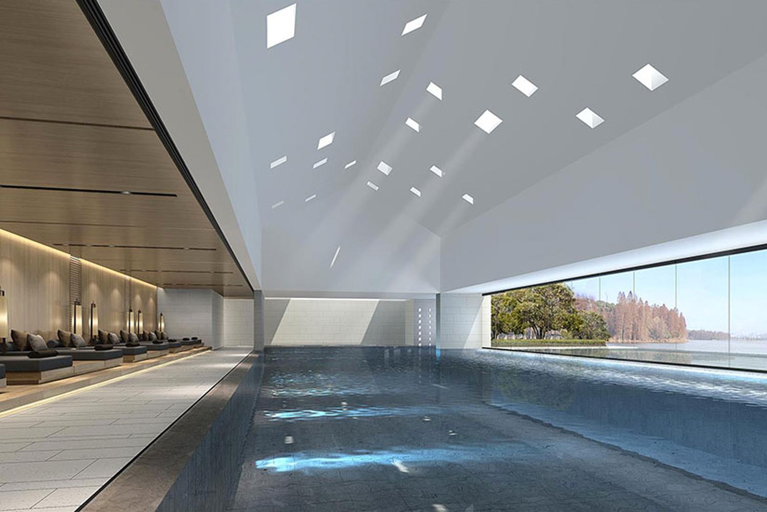 The indoor pool will be inspired by the Arabian Alhambra's bathroom with patterns etched onto its pitched roof.