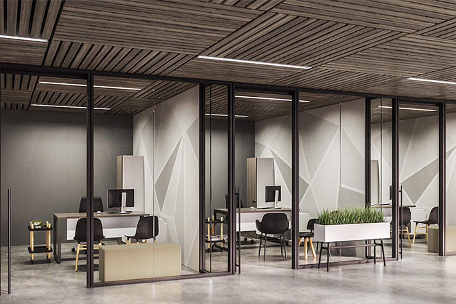 Aspect is a frameless glass partition system that provides refined aesthetics and enhanced acoustical privacy.