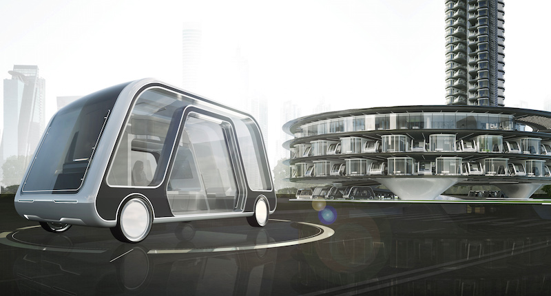 The Autonomous Travel Suite integrates transportation and hospitality through a driverless, mobile suite