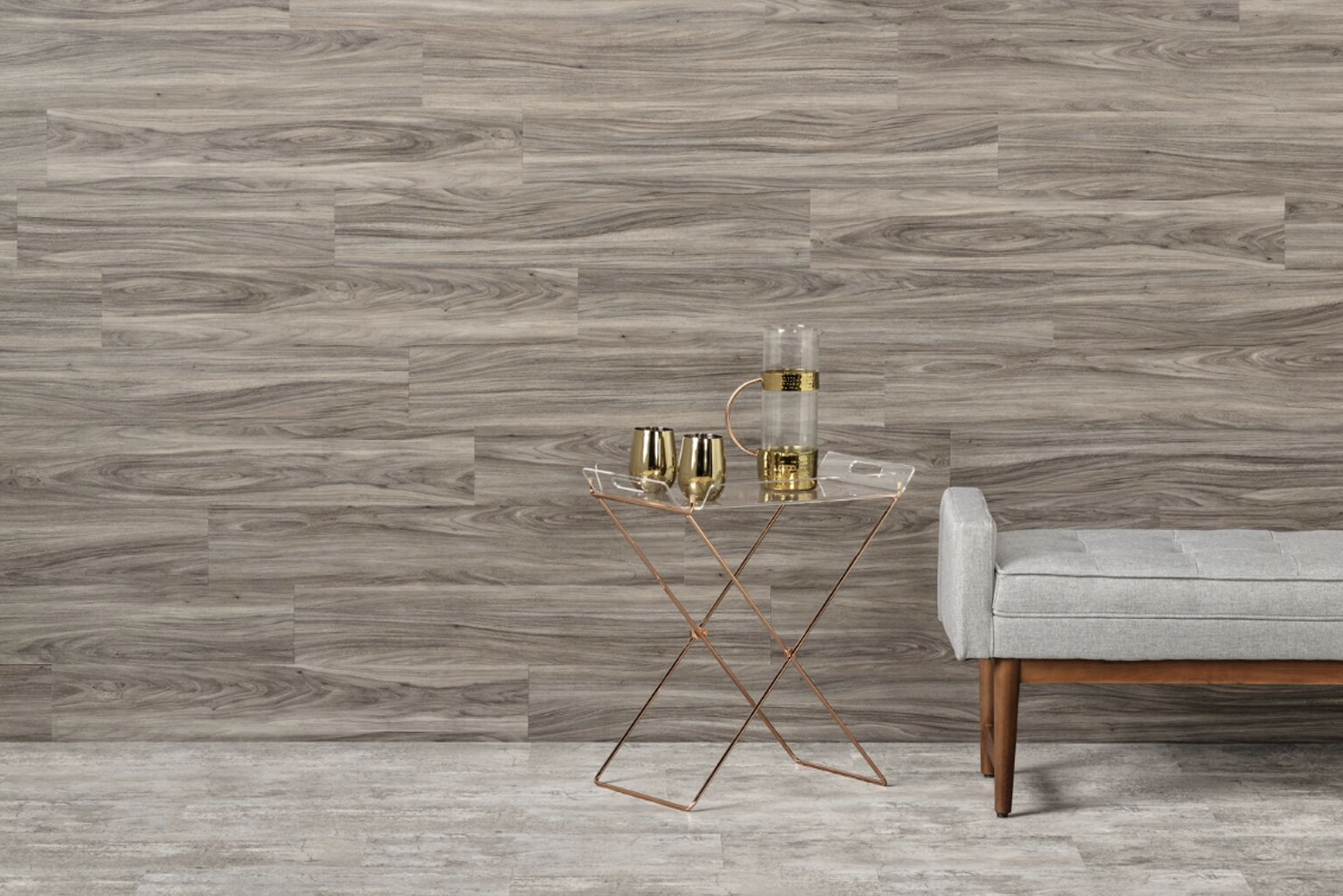Avara's vinyl options range from soft wood grains and contemporary planks to delicate stone looks, incorporating the resimercial trend often found in commercial design.