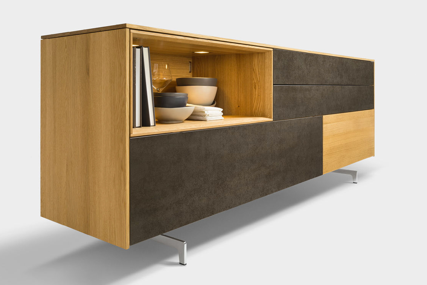 Austrian company Team 7 launched the Filigno occasional furniture, using such materials as solid wood and colored glass in an array of finishes and palette.