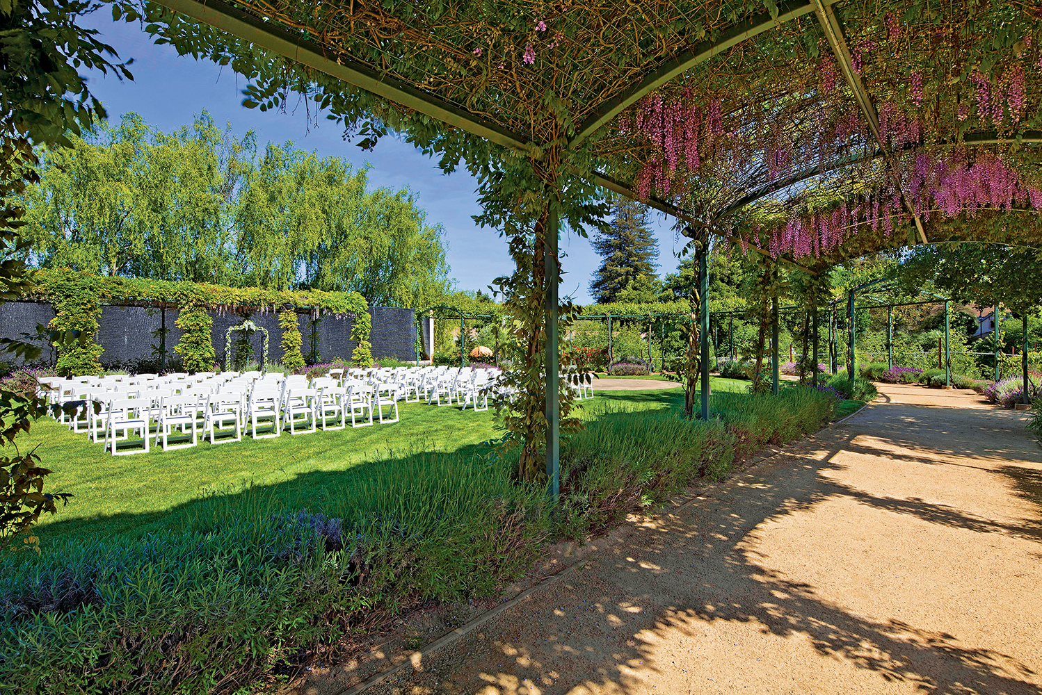There is an 80-foot long water wall ideal for weddings and special events.