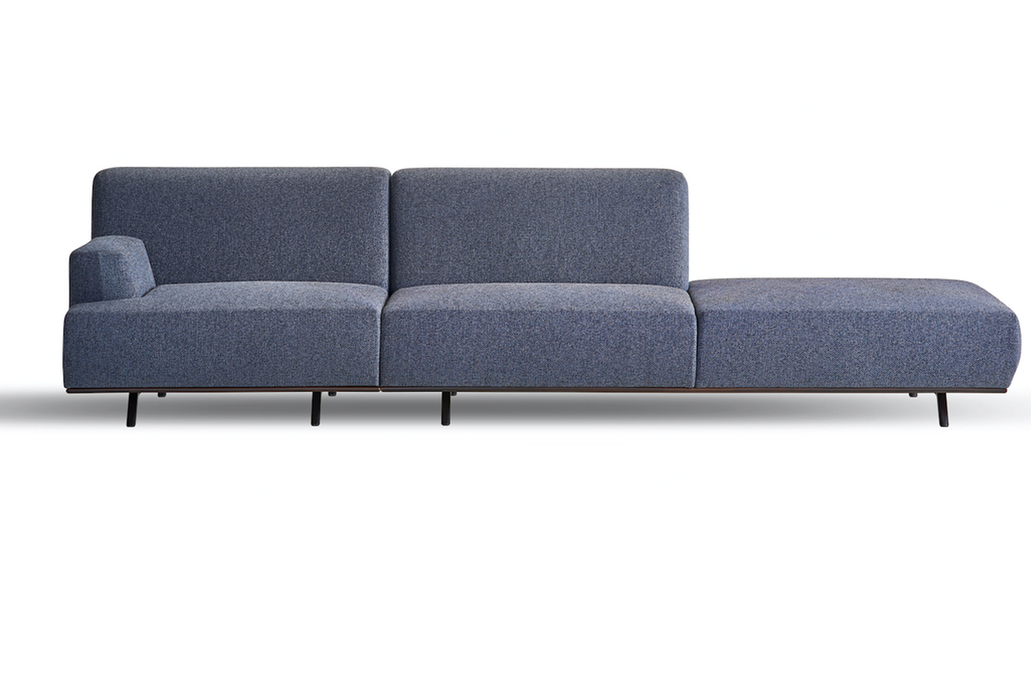 The Oscar sofa, designed by Studio Kairos for Koleksiyon, has an elongated, delicate frame spun from slender metal legs that are drawn out in an A-line shape at the sofa's sides.