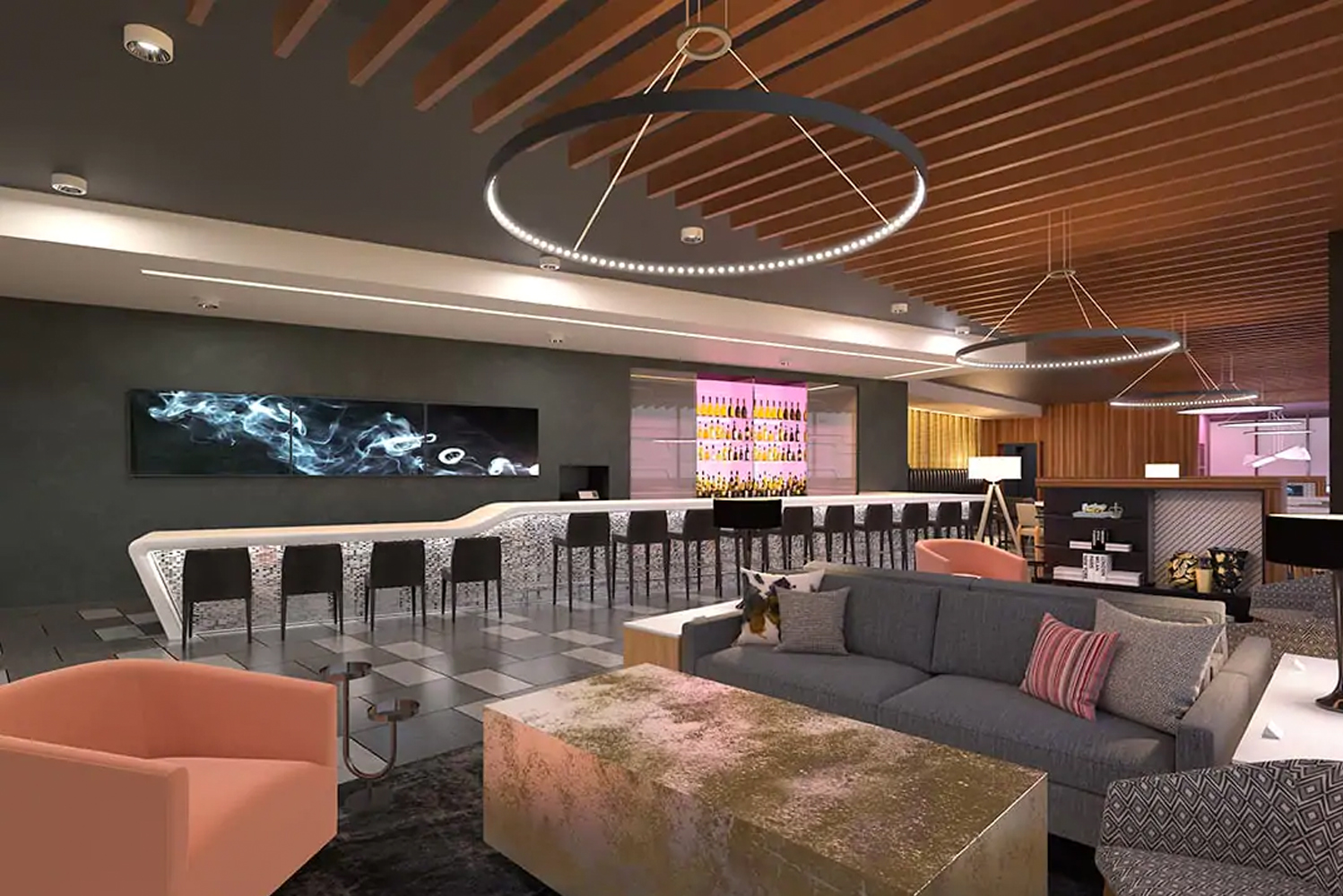 "For dining, the property will have a first floor bar and restaurant complete with modern art, a 24-hour market with ""grab 'n go"" options."