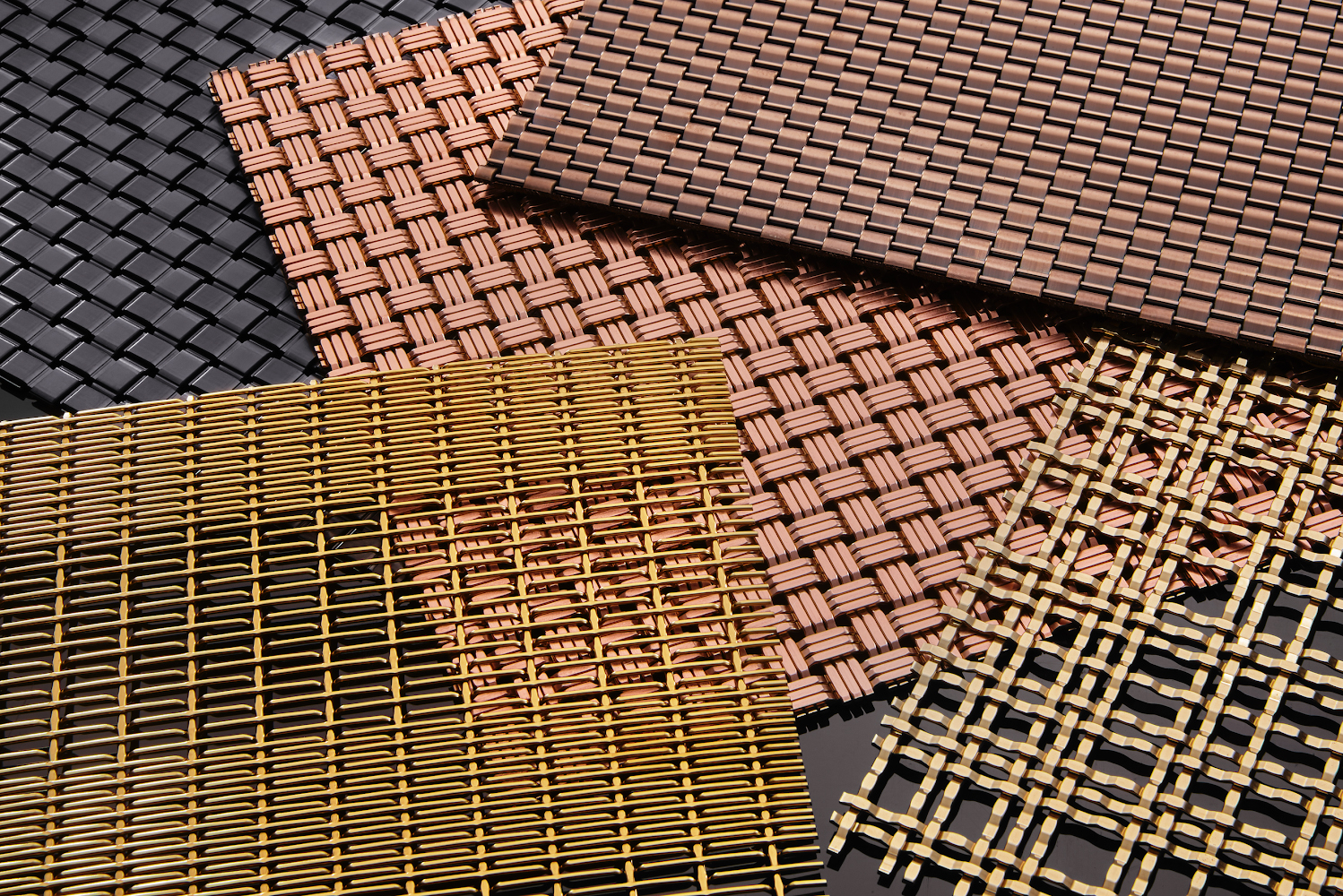 Banker Wire's stainless steel wire mesh can be enhanced with new, lasting architectural finishes including chocolate, champagne, gunmetal, rose gold, cobalt blue and royal gold.