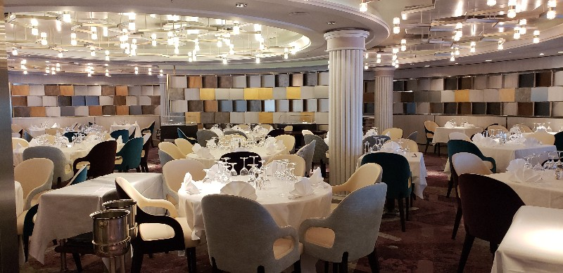 The new look of the main dining room on Crystal Serenity, newly renamed Waterside