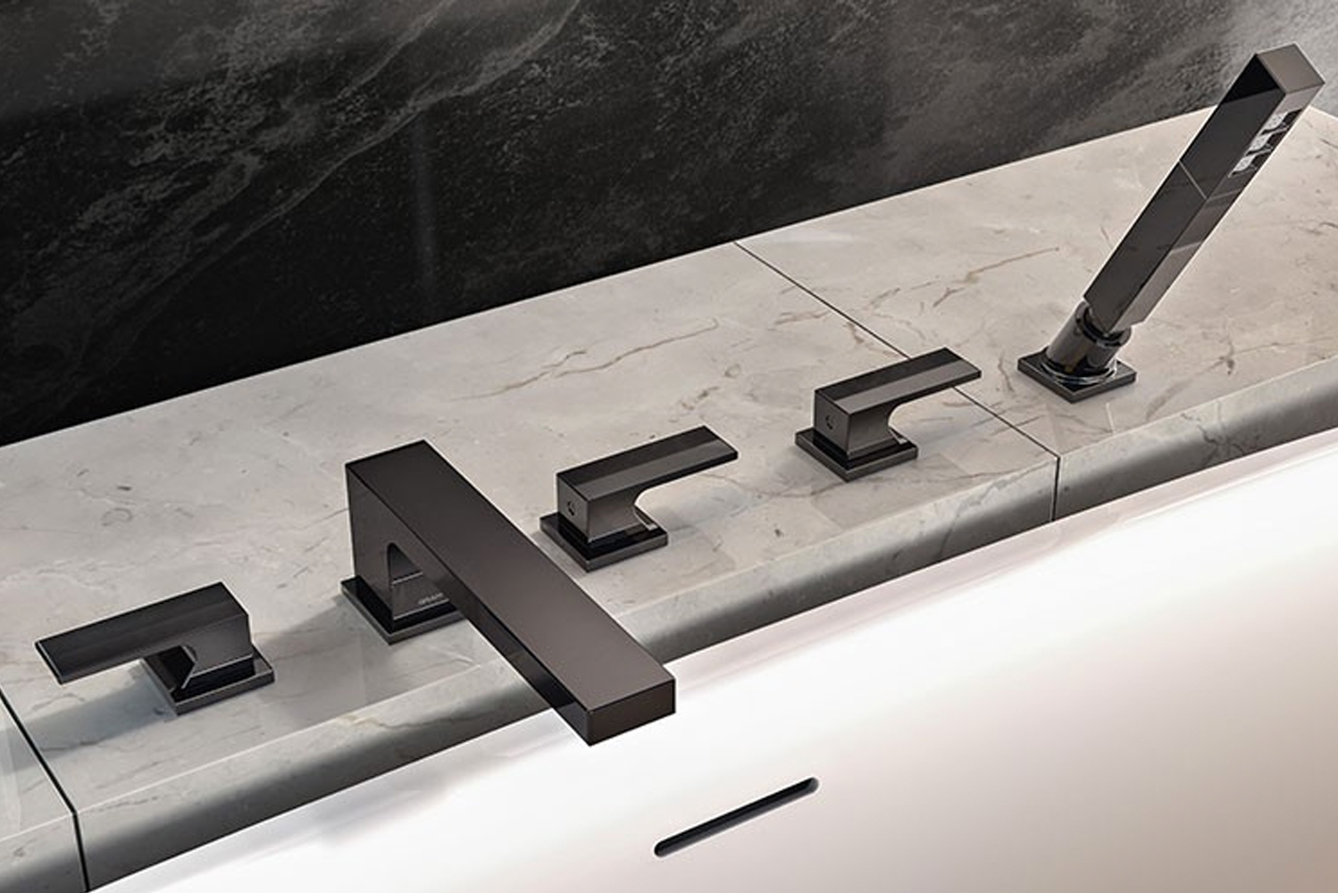 The Incanto collection has a single-hole faucet that emerges from a square base and flows into a rectangular frame.