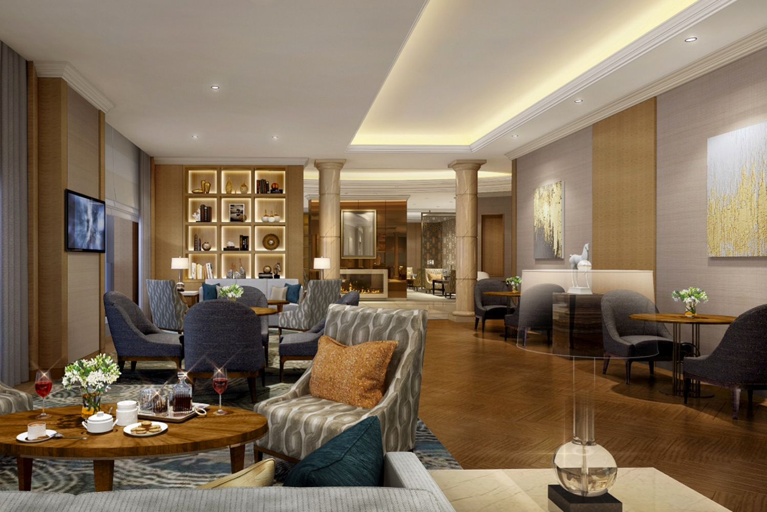 The interiors use a warm color palette, with specially designed contemporary furnishings.
