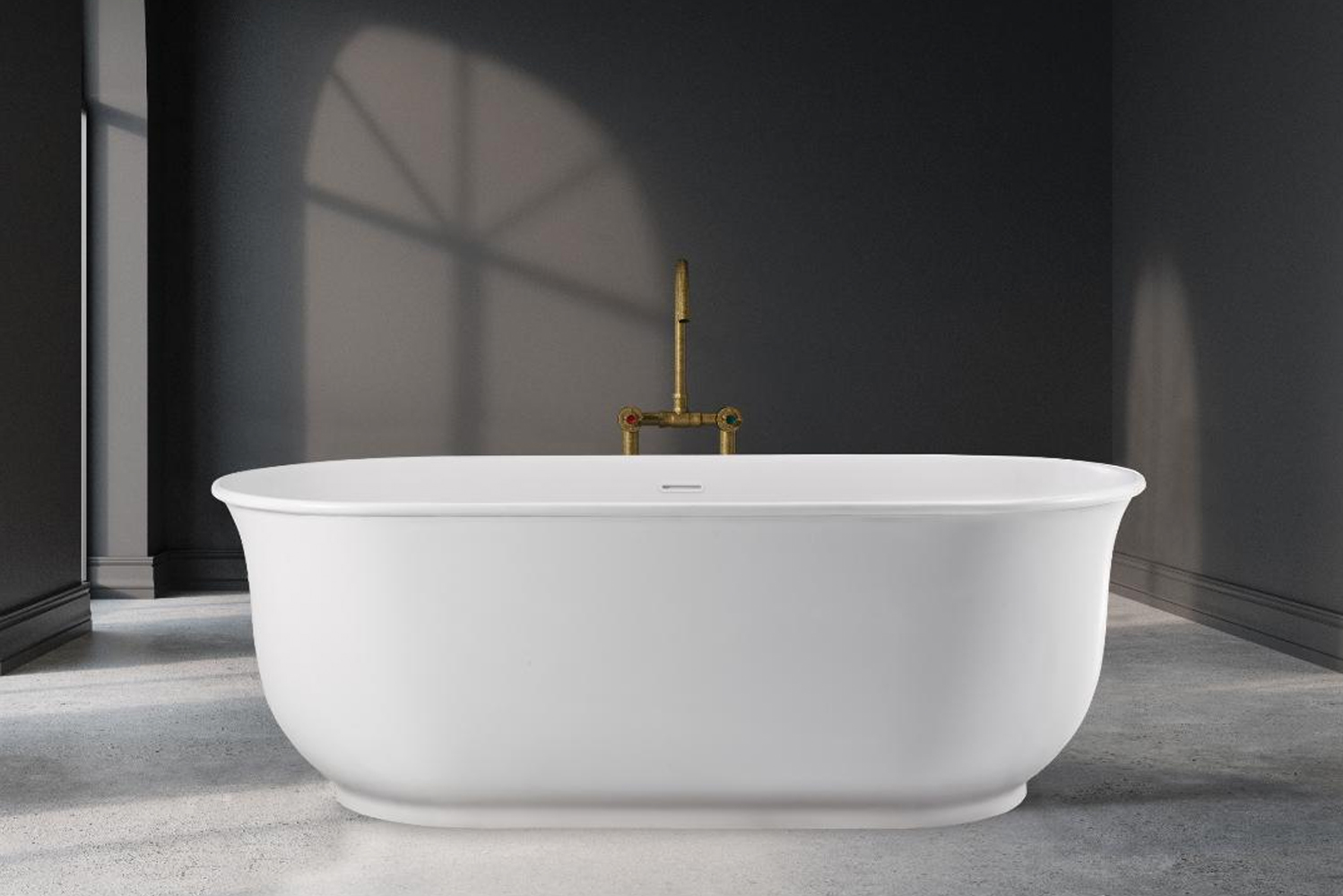 "Available as a soaker or air bath, the mineral composite tubs bring new styles and shapes to the collection of bathroom products, including the ""stone look""."