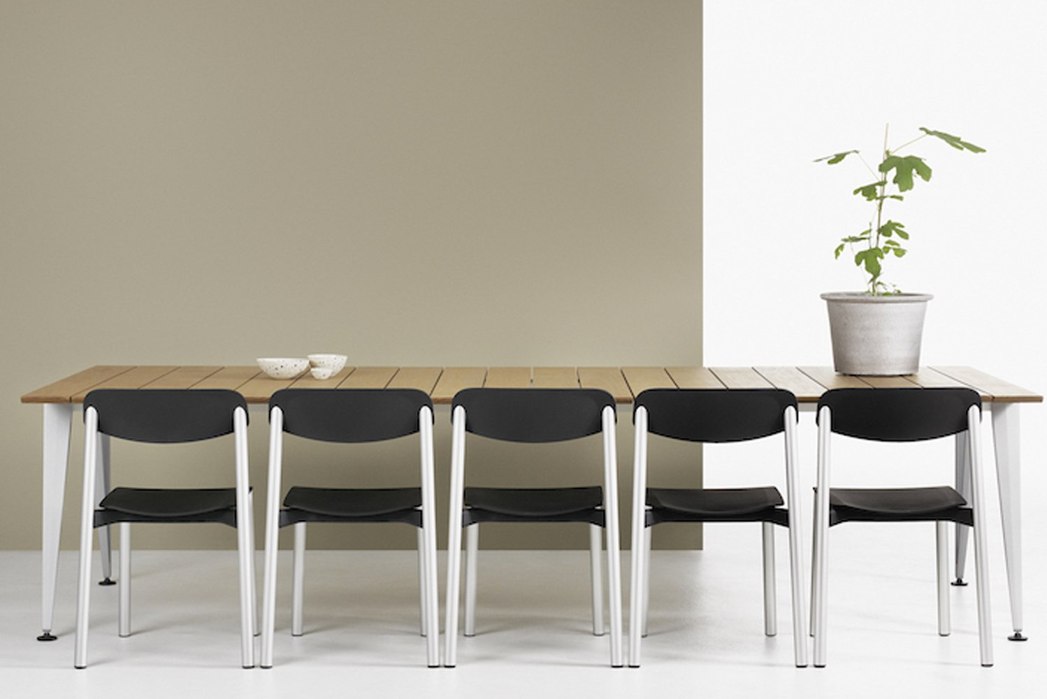 Each chair features a seat and seat back made of polypropylene that can work both indoors or outdoors.