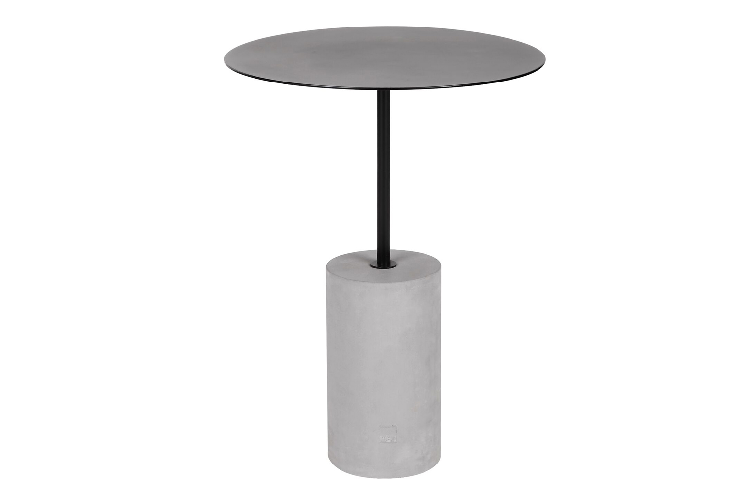 The table has an industrial-inspired cast concrete cylinder base that fuses with a round table top.