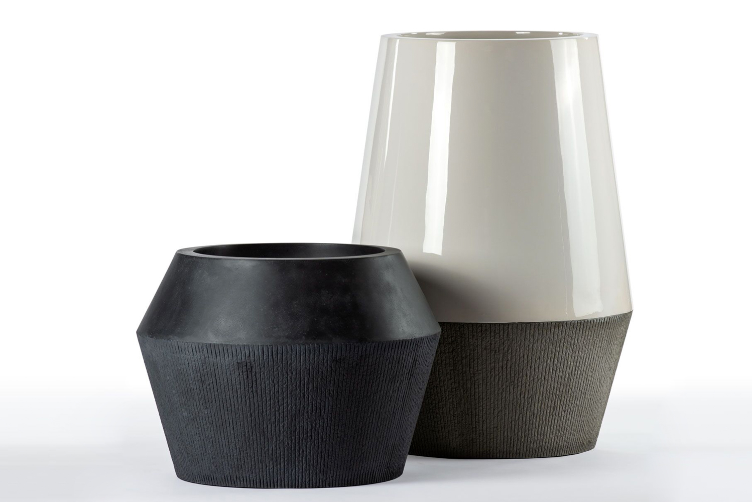 The Volta planter is made of a mix of fiberstone and fiberglass.