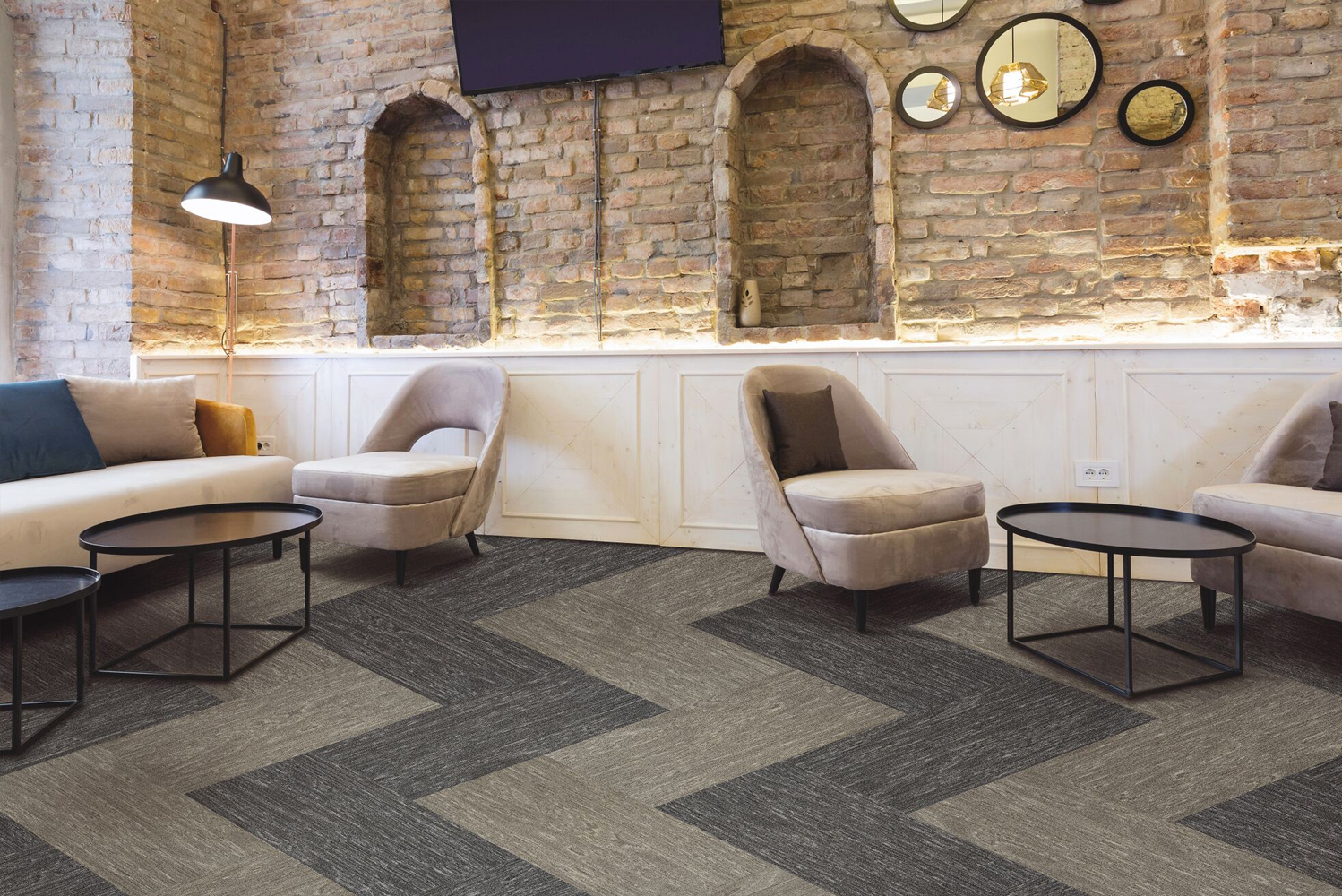 Tarkett launched SineEffect, a new modular and Powerbond soft surface collection.