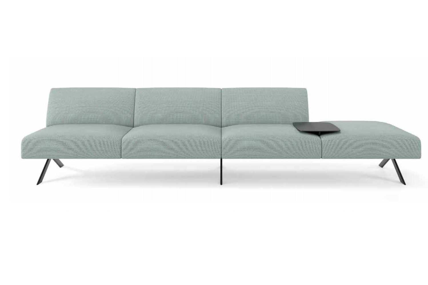 With Sistema, one can build anything from a classic, high-backed sofa, armless bench, or social sectional in any length.