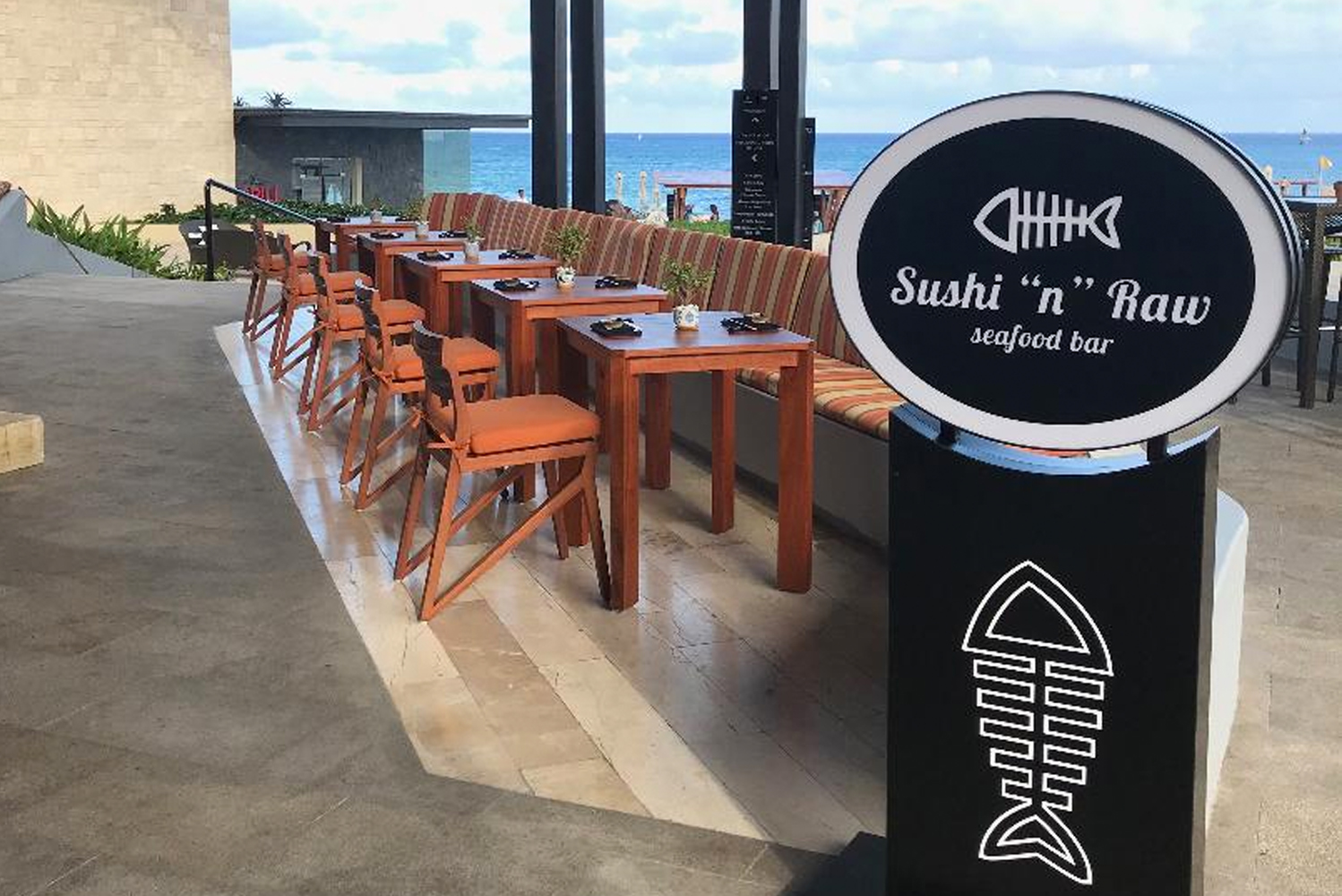 The restaurant has a 42-seat walls-free dining area that faces the Caribbean Sea. There is also an eight-person sushi bar.