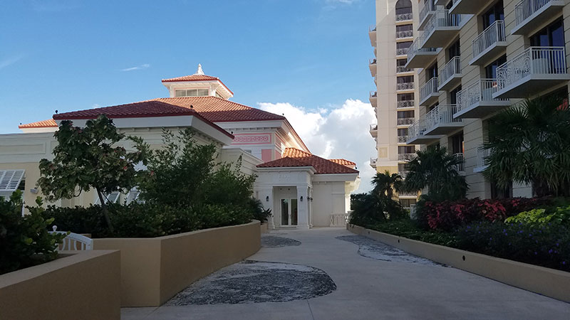 Outside the ESPA spa, which serves guests of all three resort hotels