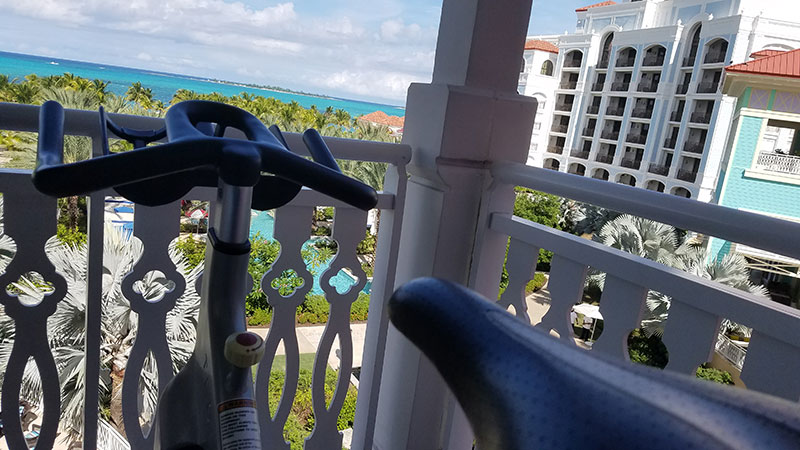 Parts of the fitness center have pool and ocean views