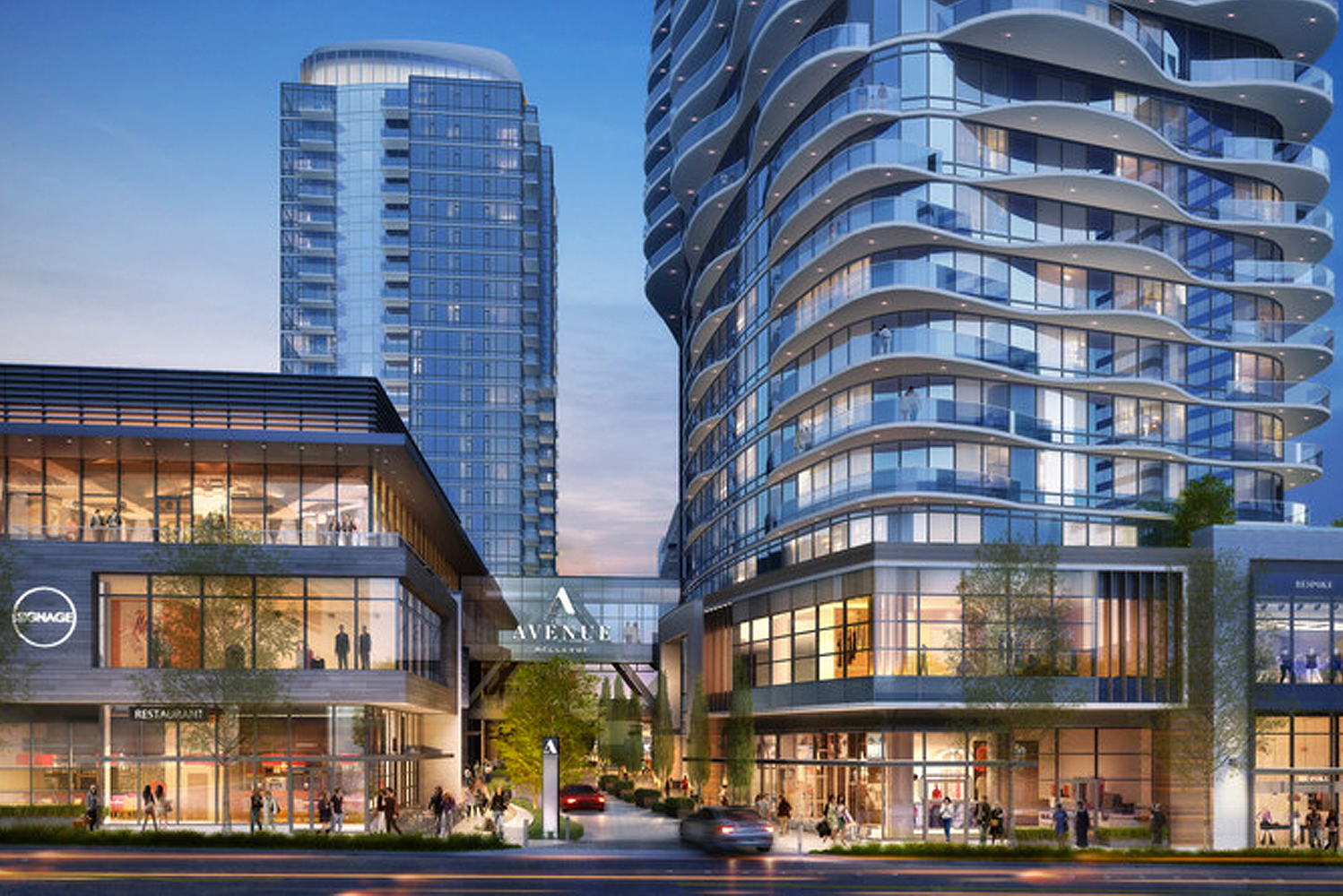 Designed in partnership with Seattle-based Weber Thompson and HBA, Avenue Bellevue will have 332 residences in two towers.