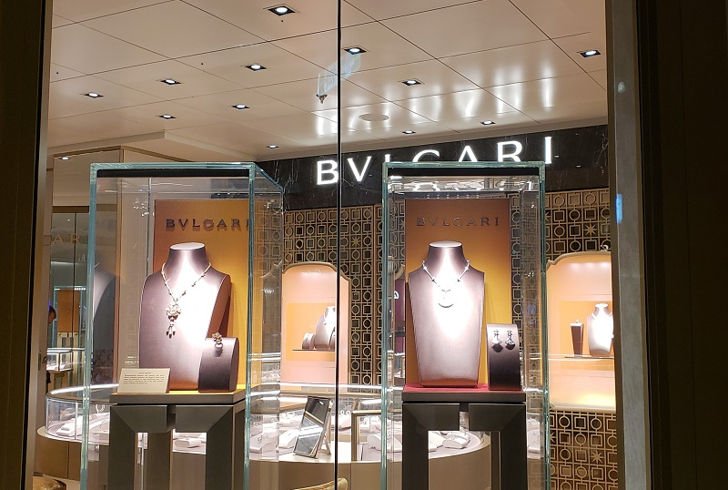 Modern Luxury is a fitting feel for shops including Bvlgari, managed under the retail umbrella of Starboard Cruise Services.